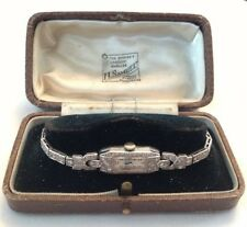 Antique Art Deco Ladies Solid Platinum Diamond Cocktail Watch Tennis Bracelet