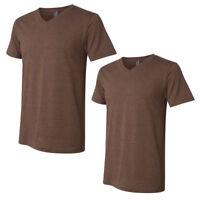 2-PACK Men's V-neck T-shirt -HEATHER BROWN- BELLA+CANVAS Soft Comfy- #3005