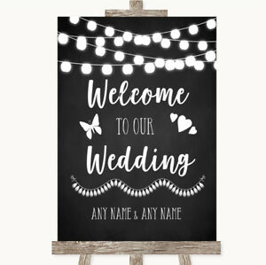 Wedding Sign Poster Print Chalk Style Black & White Lights Welcome To Our