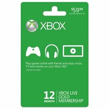 Xbox 360/One Live 12 Month Gold Membership Subscription Code Card Quick Shipping