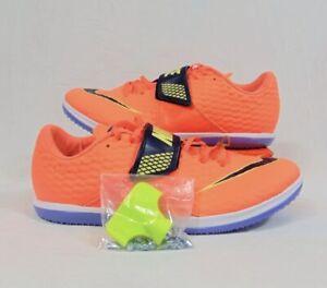 Nike Mens High Jump Elite Spikes Shoes 806561-800 Bright Mango Orange Size 9 New