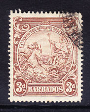BARBADOS 1938 SG252ba 3d brown variety vertical line by horses head f/u cat £140
