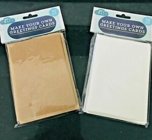 Greeting Cards Make Your Own Buff or White with Envelopes Christmas Pack Of 10