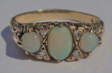 Victorian 3 white opal 4 diamond 9ct yellow gold ring
