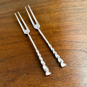 (2) WHITING STERLING SILVER STRAWBERRY FORKS SQUARE TWIST - NO MONOGRAMS