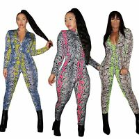 Women Long Sleeve Snakeskin Print Zipper Bodycon Club Party Casual Jumpsuit