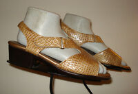 SAS TriPad Comfort Faux-Croc Patent Leather Slingback Heel Sandal Sz. 7.5W MINTY