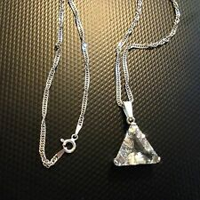 Pretty Silver Crystal or Cubic Zirconia Necklace Signed C^A Italy Chain Pendant