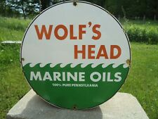 OLD VINTAGE 1962 WOLF'S HEAD MARINE OILS PORCELAIN GAS PUMP SIGN PURE PENN