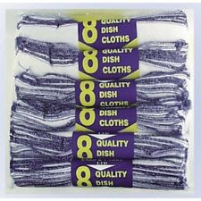 Roll Of 8 Pack Of 12 Household Dishcloths 100% Cotton Size 20 x 25 CM White