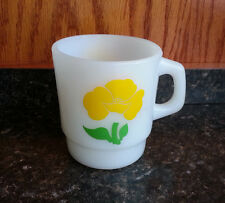 Fire King Coffee Mug Yellow Poppy Foxy Flower 1960s Stacking Vintage  White Cup