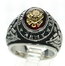 Made in USA Men's US Army Rhodium Plated Military Ring Size-12 '