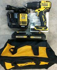 New Dewalt 20v Atomic 12 Hammer Drill Kit With 2 Battery Amp Charger Dcd709c2