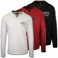 GUESS Men's Culkin Slit Henley L/S T-Shirt (Retail $39.99) S02