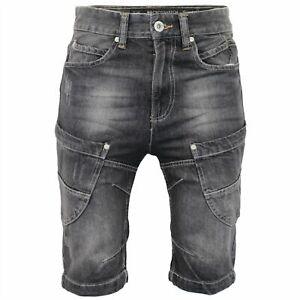 Crosshatch Mens Lenour Denim Shorts Ripped Jeans Jorts - Black/Grey