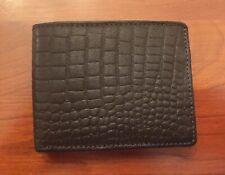 Vintage NWT John Weitz Genuine Leather Dark Brown/Black Bi-Fold Wallet