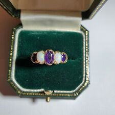 9ct Gold Opal and Amethyst Ring
