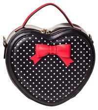 Banned Rockabilly 50s Heart Shaped Polka Dot Red Bow Small Handbag Black