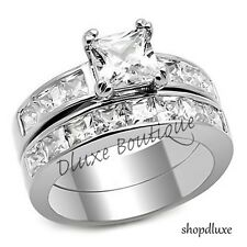 Steel Wedding Ring Set Women's Size 5-10 3.75 Ct Princess Cut Aaa Cz Stainless