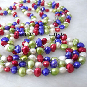 """64"""" 5-6mm Multi Color Baroque Freshwater Pearl Necklace Strand Jewelry UK"""