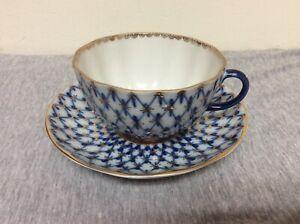 Russian Imperial Lomonosov Porcelain Cobalt Net Tea Cup & Saucer