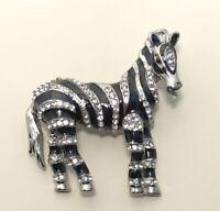 Unique  Zebra Brooch in enamel on metal with crystals
