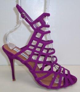 Steve Madden Size 9 M SLITHUR Purple Suede Heels Sandals New Womens Shoes