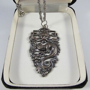 Vintage Silvertone Chinese Dragon Pendant Necklace with Chain