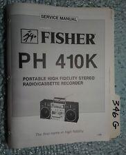 Fisher ph 410k service manual original repair book portable stereo boombox radio
