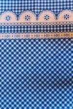 Landhaus  Baumwollstoff Karo und Spitze Muster blau weiss Meterware