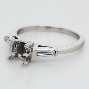 0.30 Carat Diamond Engagement Ring Setting in Platinum w/Baguettes
