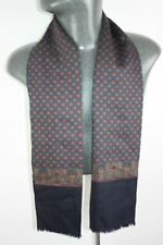 Vintage Silk Wool Blend Scarf Blue mod dandy retro mens womens cravat *713