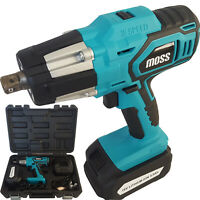"Moss 18v Cordless Impact Wrench Gun 1/2"" Drive Reversible & Light & Carry Case"
