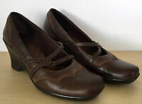 CLARKS Womens Brown Leather Wedge Pumps Sandals Heels Shoes Size 9 M