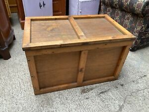 Brown Wooden Chest Ottoman Blanket Storage Toy Box Coffee Table