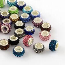 100 pcs Polymer Clay Rhinestone European Large 5mm Hole Rondelle Beads US SELLER