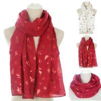 Women Wrap Shawl Christmas Snow Print Scarf Wrap Silk Shawl Stole Scarves XMAS