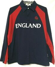 England Mens Blue Red Embroidered Rose Long Sleeve Polo Shirt Size Medium   MG13