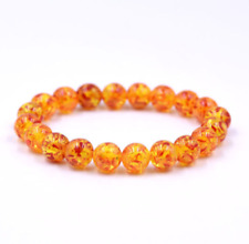 Natural Amber Stone Round Bead Bracelet Elastic Stretch Bangle 6MM 8MM 10MM 12MM