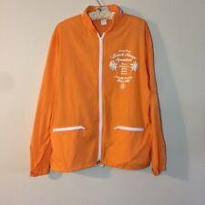 Stussy Squad Orange Streetwear Lightweight Windbreaker Hooded Zip Up Jacket Sz L
