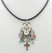NEW KIRKS FOLLY SUGAR SKULL DREAMS CORD NECKLACE SILVERTONE ~~HALLOWEEN~~ NEW ~~