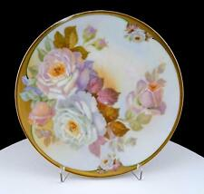 """CARLSBAD AUSTRIA HAND PAINTED WHITE ROSES IRIDESCENT 7 3/4"""" CABINET PLATE"""