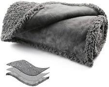 Waterproof Dog Blanket of Reversible Sherpa Fleece for Bed, Couch, Sofa, Floor