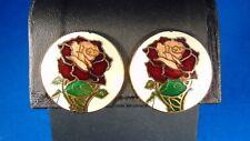 Vintage Cloisonne Rose Post Earrings