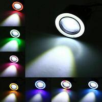 Pair 7 Colours Angel Eyes Halo Car Fog Lights Lamp Projector DRL COB LED Bulbs