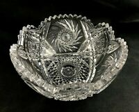 """🟢 Antique Rare Marshall Stacey Co. ABP Cut Glass ROME Pattern 8"""" Deep Bowl"""