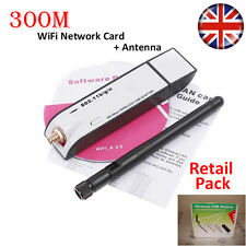 300Mbps Pro Wireless USB WiFi Network Card LAN Adapter Dongle Laptop PC +Antenna