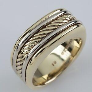 David Yurman Thoroughbred 18k Multi-Color Gold Cigar Ring Size 9.75