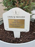 Pet Memorial Personalised Brass Plaque Engraved Dog Cat Grave Sadly missed Plaqu