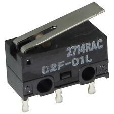 2 OMRON D2F-01L Mikroschalter 30VDC 100mA 1xUM 1,47N Hebel 12,6x6,5x5,8mm 855626